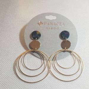 NWT Panacea Gold Circle and Multicolored Earrings